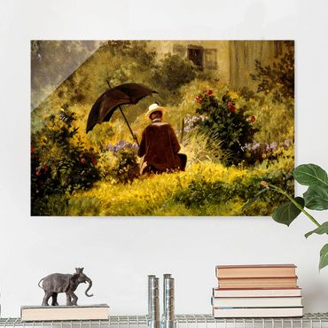 Glasbild - Carl Spitzweg - Der Maler im Garten - Querformat 2:3