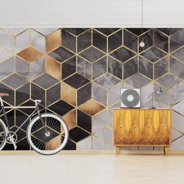 Fototapete - Schwarz Weiß goldene Geometrie - Fototapete Quadrat