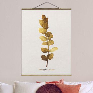 Stoffbild mit Posterleisten - Gold - Eukalyptus - Hochformat 4:3
