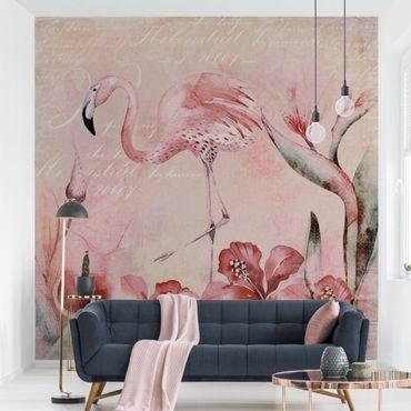 Tapete selbstklebend - Shabby Chic Collage - Flamingo - Fototapete Quadrat