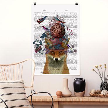Poster - Vogelfänger - Fuchs mit Artischocke - Hochformat 3:2