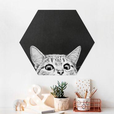Hexagon Bild Forex - Illustration Katze Schwarz Weiß Zeichnung