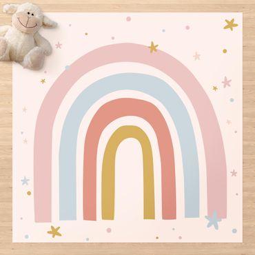 Vinyl-Teppich - Großer Regenbogen mit Sternen und Pünktchen - Quadrat 1:1