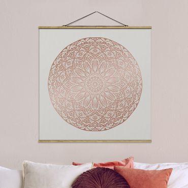 Stoffbild mit Posterleisten - Mandala Ornament in Kupfergold - Quadrat 1:1