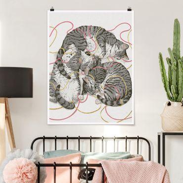 Poster - Illustration Graue Katzen Malerei - Hochformat 4:3