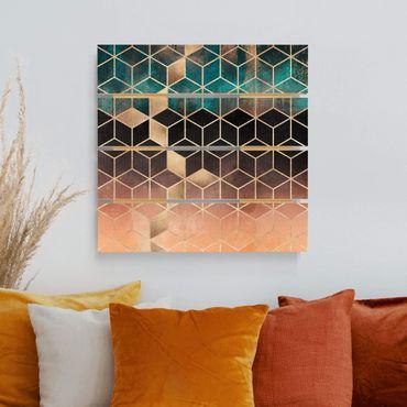 Holzbild - Elisabeth Fredriksson - Türkis Rosé goldene Geometrie - Quadrat 1:1