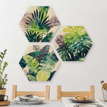 Hexagon Bild Holz 3-teilig - Exotisches Blattwerk Set II