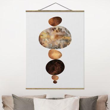 Stoffbild mit Posterleisten - Elisabeth Fredriksson - Balance Weiß Gold - Hochformat 3:4