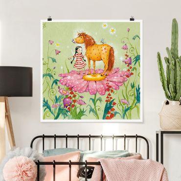 Poster - Das Zauberpony auf der Blüte - Quadrat 1:1