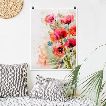 Poster - Aquarell Blumen Mohn - Hochformat 3:4