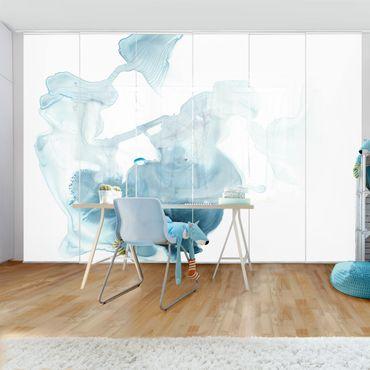 Schiebegardinen Set - Aquamarin im Dunst I - Flächenvorhang