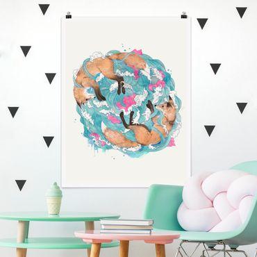Poster - Illustration Füchse und Wellen Malerei - Hochformat 4:3