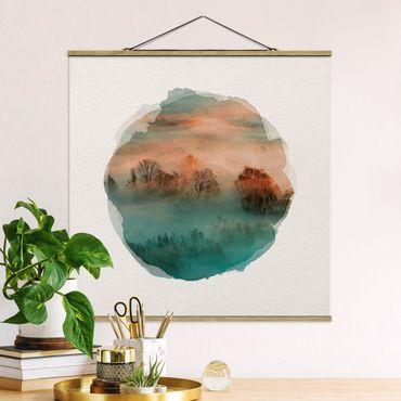 Stoffbild mit Posterleisten - Wasserfarben - Nebel bei Sonnenaufgang - Quadrat 1:1