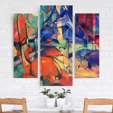 Leinwandbild 3-teilig - Franz Marc - Rehe im Walde II - Galerie Triptychon
