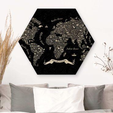 Hexagon Bild Holz - Typografie Weltkarte schwarz
