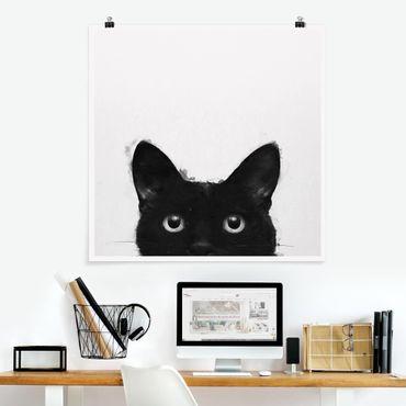 Poster - Illustration Schwarze Katze auf Weiß Malerei - Quadrat 1:1
