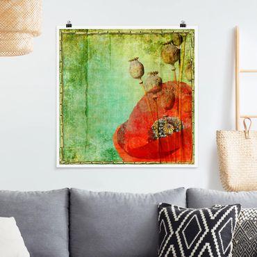 Poster - Poppy Stalks - Quadrat 1:1
