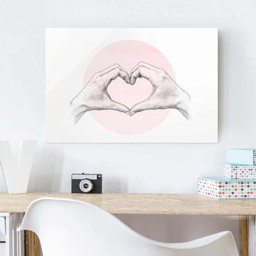 Glasbild - Illustration Herz Hände Kreis Rosa Weiß - Querformat 2:3