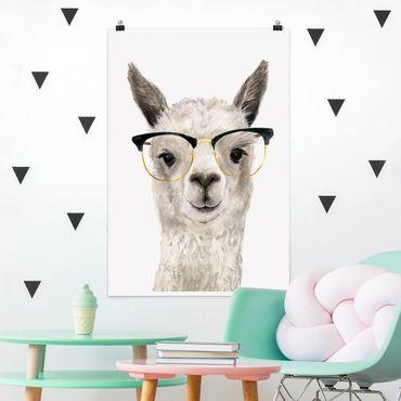 Poster - Hippes Lama mit Brille I - Hochformat 3:2