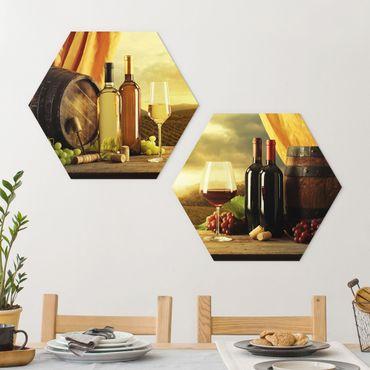 Hexagon Bild Forex 2-teilig - Wein mit Ausblick