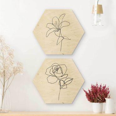 Hexagon Bild Holz 2-teilig - Line Art Blüten Schwarz Weiß Set