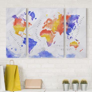 Leinwandbild 3-teilig - Weltkarte Aquarell violett rot gelb - Tryptichon