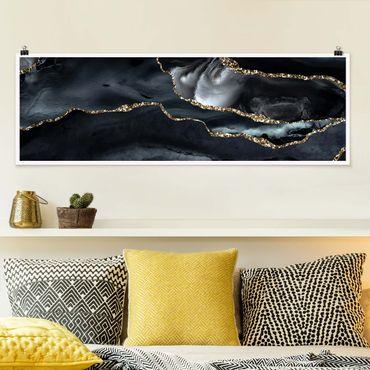 Poster - Schwarz mit Glitzer Gold - Panorama Querformat