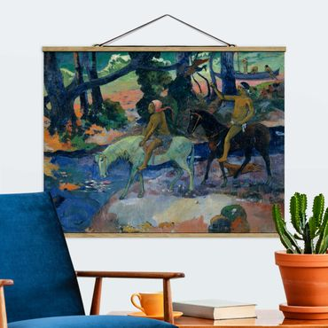 Stoffbild mit Posterleisten - Paul Gauguin - Die Flucht - Querformat 4:3