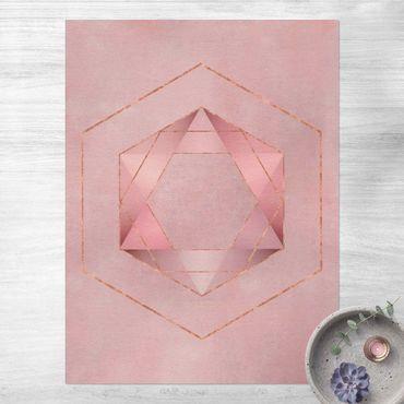 Vinyl-Teppich - Geometrie in Rosa und Gold I - Hochformat 3:4