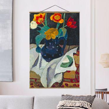 Stoffbild mit Posterleisten - Paula Modersohn-Becker - Stillleben mit Tulpen - Hochformat 2:3