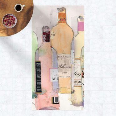 Vinyl-Teppich - Weinflaschen in Wasserfarbe II - Hochformat 1:2