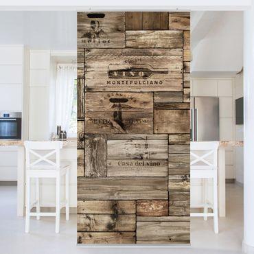 Raumteiler - Vintage Holzkisten 250x120cm