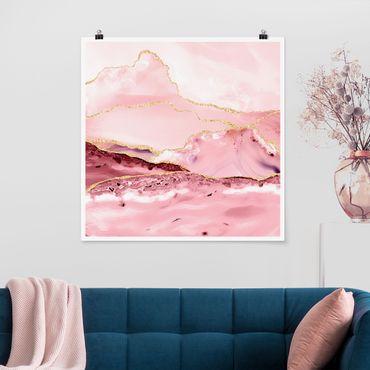 Poster - Abstrakte Berge Rosa mit Goldene Linien - Quadrat 1:1