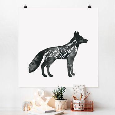 Poster - Tiere mit Weisheit - Fuchs - Quadrat 1:1