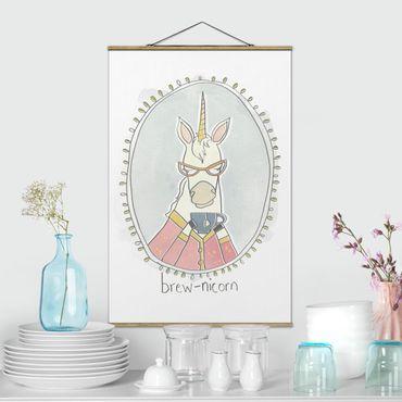 Stoffbild mit Posterleisten - Koffeinhaltiges Einhorn - Hochformat 3:2