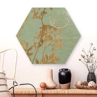 Hexagon Bild Holz - Goldene Blätter auf Turquoise I
