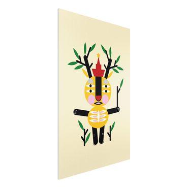Forex Fine Art Print - Collage Ethno Monster - Hirsch - Hochformat 3:2