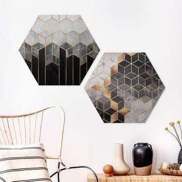 Hexagon Bild Alu-Dibond 2-teilig - Elisabeth Fredriksson - Goldene Geometrie Aquarell Set