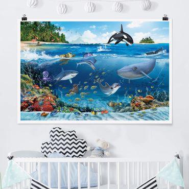 Poster Kinderzimmer - Animal Club International - Unterwasserwelt mit Tieren - Querformat 2:3
