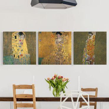 Leinwandbild 3-teilig - Gustav Klimt - Portraits - Quadrate 1:1