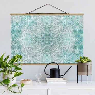 Stoffbild mit Posterleisten - Mandala Aquarell Ornament Muster türkis - Querformat 3:2