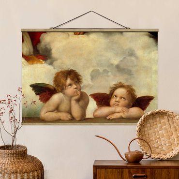 Stoffbild mit Posterleisten - Raffael - Zwei Engel - Querformat 3:2