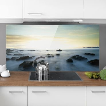 Spritzschutz Glas - Sonnenuntergang über dem Ozean - Querformat - 2:1