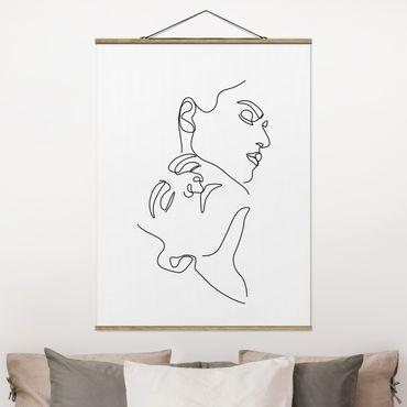 Stoffbild mit Posterleisten - Line Art Frauen Gesichter Weiß - Hochformat 3:4