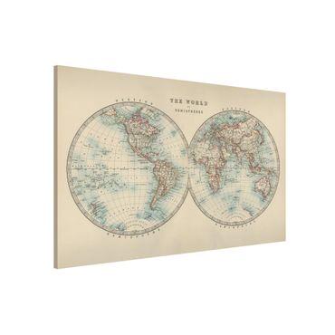 Magnettafel - Vintage Weltkarte Die zwei Hemispheren - Memoboard Querformat 2:3