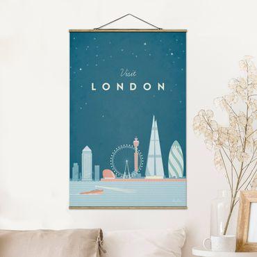 Stoffbild mit Posterleisten - Reiseposter - London - Hochformat 3:2