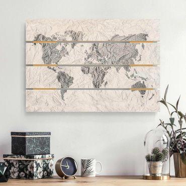 Holzbild - Papier Weltkarte Weiß Grau - Querformat 2:3