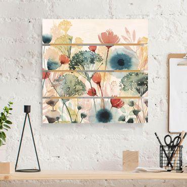 Holzbild - Wildblumen im Sommer I - Quadrat 1:1