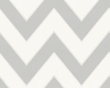 Michalsky Living Streifentapete High Rise in Grau, Weiß