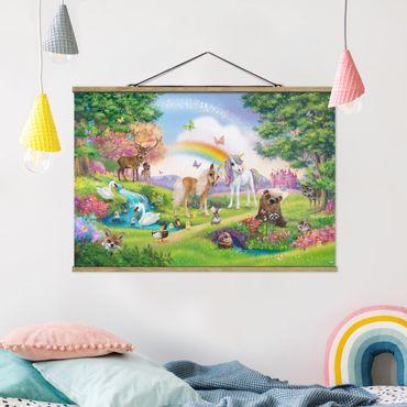 Stoffbild mit Posterleisten - Animal Club International - Zauberwald mit Einhorn - Querformat 2:3